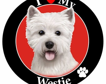 I Love My Westie Car Magnet, Westie Gifts, Pet Gifts