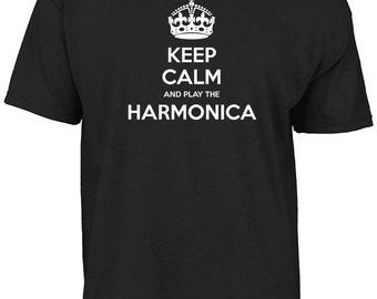 Keep calm and play the harmonica t-shirt