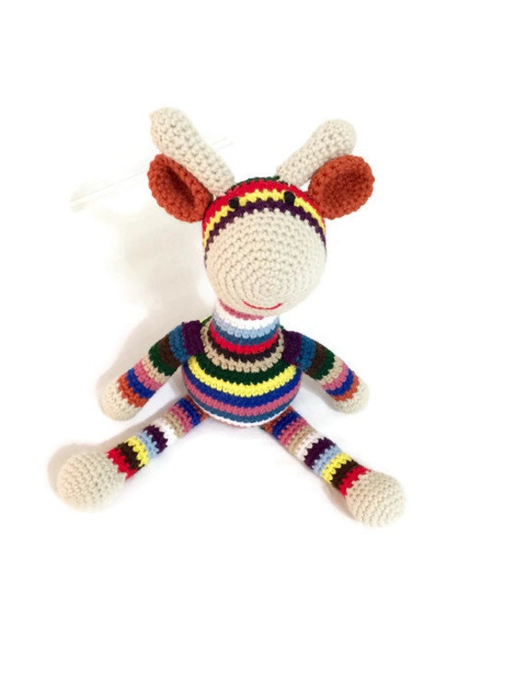 Geri the Giraffe - Handmade, Custom-made, and Crocheted Striped Stuffed Giraffe