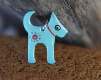Dog Pendant, Enameled Metal Stainless Steel, Handpainted Jewelry, Turquoise Blue Pendant Necklace, Whimsical Playful Style, Dog Lover Gift