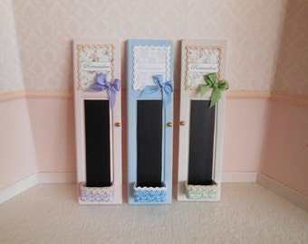 1:12 DOLLHOUSE Chalkboard shabby chic. Available in pink and lilac, beige and green and blue.