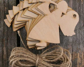 10 x Wooden Christmas Angel with a Horn Craft Shape 3mm Ply