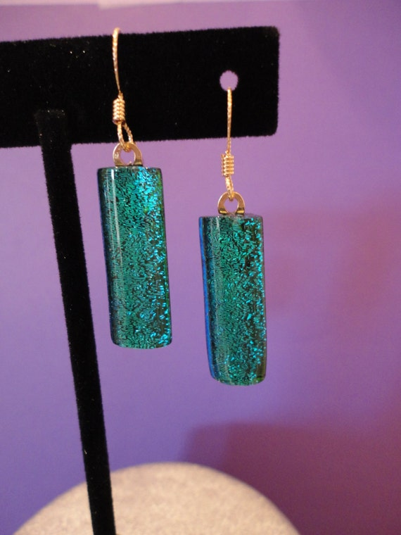 Dichroic fused glass teal earrings with gold tone ear wires