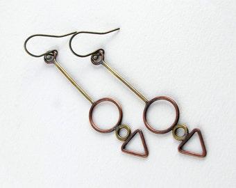Geometric earrings Dangle earrings Copper and brass earrings Arrow earring Wire earrings Mixed metal jewelry Triangle earrings Brass jewelry