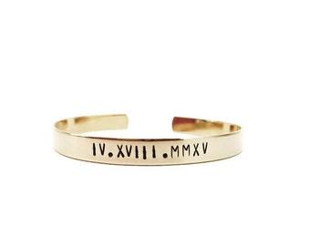 roman numeral bracelet   custom cuff bracelet   personalized cuff bracelet   hand stamped brass gold cuff