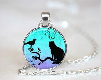 Silhouette Cat Necklace-Silhouette Jewelry-Cat Jewelry-Handmade-One Inch Pendant-Gypsy Jewelry-Gypsy Gifts