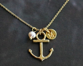 initial necklace, golden anchor with white pearl  necklace,  bridesmaid gifts, Gift for her, personalized necklace, SALE