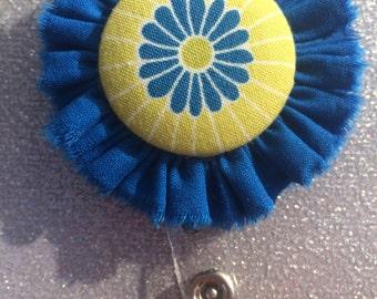 Flower Retractable Badge Holder. ID Holder. Badge Button