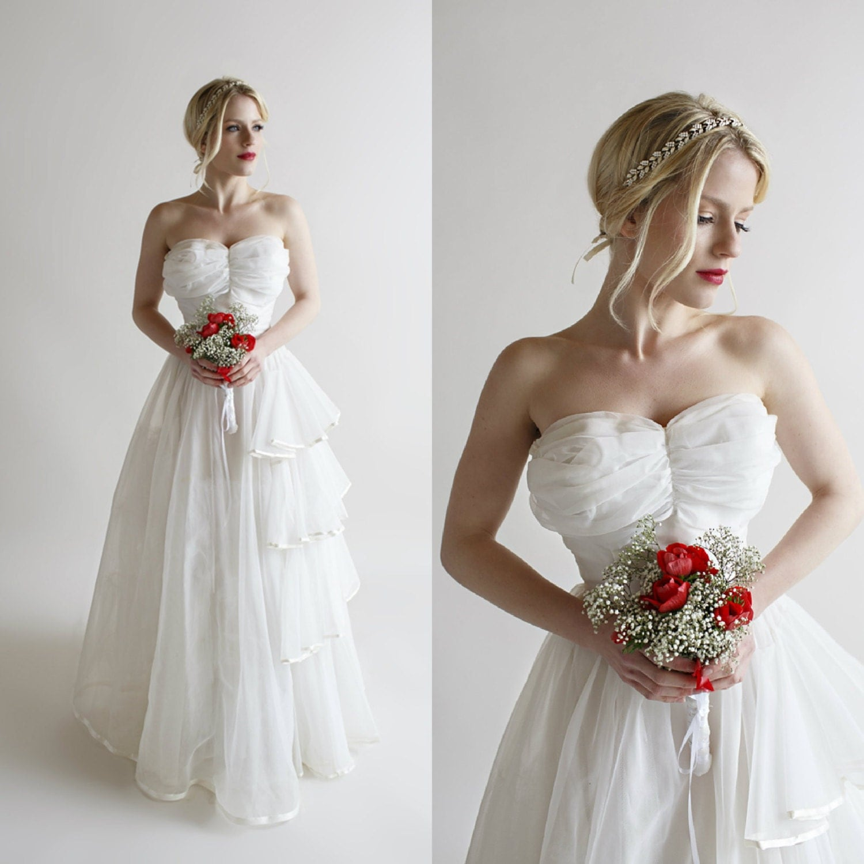 Strapless Wedding Dress Vintage 1950s by
