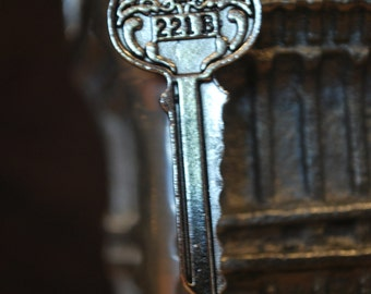 Custom 221 B Baker St. Sherlock Holmes Key Necklace or Keychain. Great for fans of the books, movies, or BBC show!
