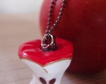 Apple necklace bitten Necklace-apple-eaten necklace, red apple necklace-Snow White necklace