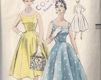 Vogue Pattern # 8328 1954 Sleeveless Princess Dress Full Skirt