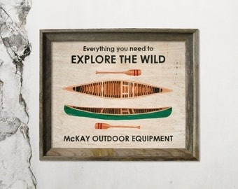 """Explore the Wild - 8"""" x 10"""" Limited Run Print - Archival Paper (Vintage Canoe Ad)"""