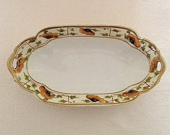 Nippon Hand Painted Moriage Celery Dish