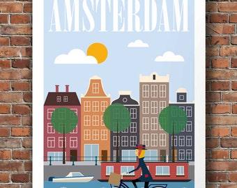 amsterdam, amsterdam print, travel poster, mid century wall art, amsterdam poster, netherlands, amsterdam art, retro wall art, city prints