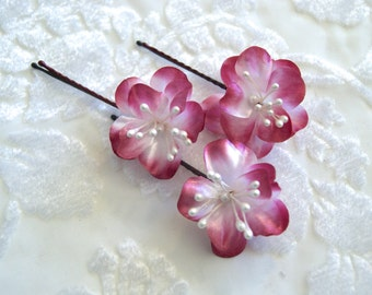 Flower Hair Pins, Red Flower Bobby Pins, Bridal Hair Accessories, Wedding Hair Flowers, Bridesmaid Accessories, Floral Hairpieces