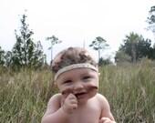 Boho Baby, Feather headband, indian headband, headdress, baby girl bows, photo prop, baby Halloween costume, Indian costume