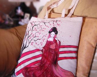 Japanese hand painted bags series / Geisha bag / Japan tote bag