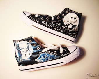 Tim Burton hand painted shoes / The Nightmare Before Christmas shoes