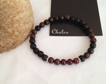 Tiger Ebony and Garnet bracelet, tiger ebony bracelet, wooden unisex bracelet, January birthstone bracelet, gift for her or for him, wood