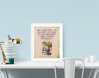 "Alice in Wonderland, ""Six Impossible Things Before Breakfast..."" Giclee Print"
