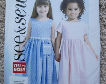 UNCUT Girls Dress - Butterick Sewing Pattern B4490 - Size 2, 3, 4, 5