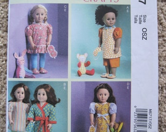 """UNCUT 18"""" Doll Clothes, Mask, Slippers and Toy - McCalls Pattern M6717"""