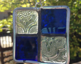 Stained Glass Christmas Ornament Blue and Clear with Textured Glass 2x2 inches