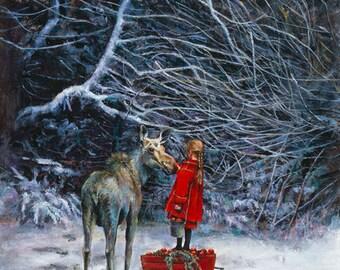 Christmas Cards, Holiday Card, Greeted Christmas Card, Moose, Animal Christmas Card