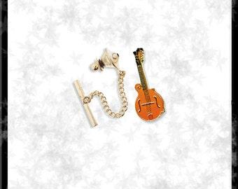 Gold & Cloisonné Mandolin Tie Tack