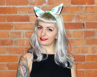 Chevron Rockabilly Headband Turquoise Yellow Retro Pin Up Dolly Bow Head Wrap