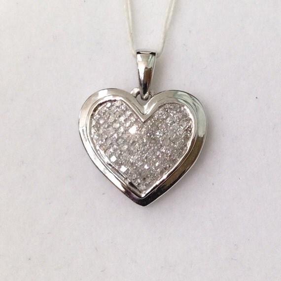 34 Grams Unique Diamond Set: White Gold Diamond Heart Pendant 10k Invisible Setting Shiny