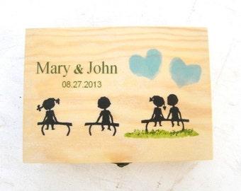 Personalized wooden box,wooden keepsake box,wedding box,save the date box,jewelry box,handmade decorated box,custom wood box,lovers box