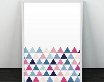 Triangles art print, Geometric art print, Abstract art print, Wall art, Wall print, Colorful prints, Minimalist home decor, Office decor