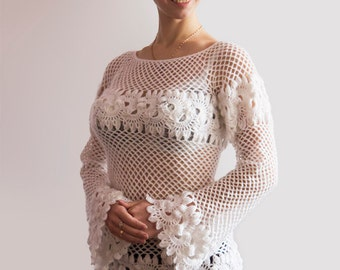 Handmade Crochet Openwork White Pullover. Hand Knit Laced Pullover