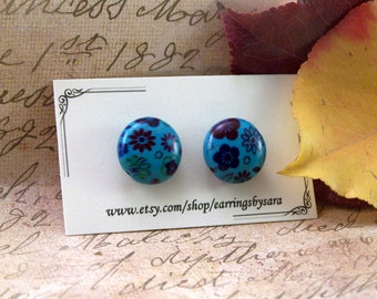 Small Floral Stud Earrings - Blue Flower Post Earrings