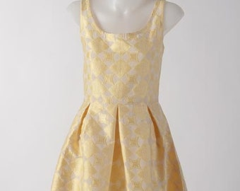 Peach-yellow Scalloped Hem Dress