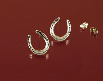 Horse shoe stud or pole earrings in solid 925 Sterling Silver, a good luck symbol perfect for a horse lover