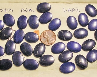 Lapis Cabochons, 18 x 13 ovals, Buff top, Flat back, Beveled edge. Old Store Stock, PRICED BELOW WHOLESALE