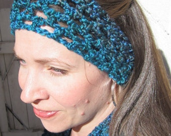 Lacy Crocheted Earwarmer / Headband, Blue - Teal - Brown, Large / XL