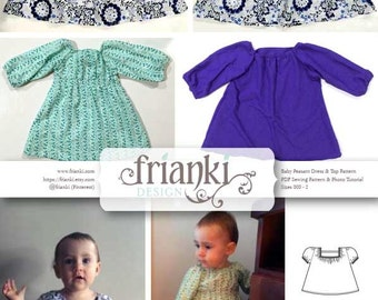 Baby Girl Peasant Dress & Top - Short and Long Sleeve - PDF Sewing Pattern and Photo Tutorial - Sizes 000 to 2 - Toddler Child Easy Pattern