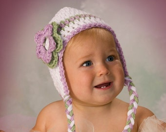Crochet Toddler Hat, Baby Girl Hat, Photo Prop, Baby Shower Gift, Crochet Baby Hat, White Purple Green, Girl Ear Flap Hat, Toddler Girl Hat