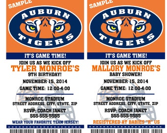 Printable Auburn Tigers College Football Birthday Party Invitation NCAA Ticket Invitation Baby Shower Invitations