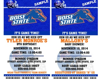 Printable Boise State Broncos College Football Birthday Party Invitation NCAA Ticket Invitation Baby Shower Invitations