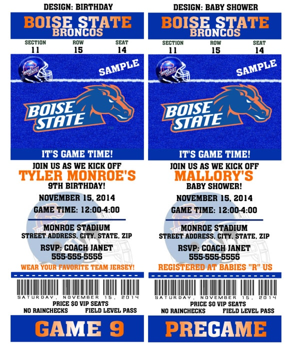 Printable Boise State Broncos College Football Birthday Party