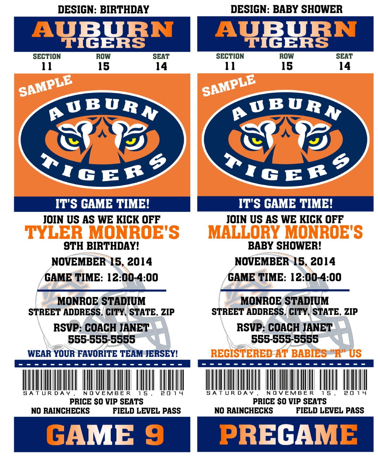 Printable auburn tigers college football birthday by qtpiewrappers