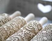 FOLK FLORAL pattern embossing wooden rolling pin, laser engraved.