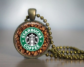 Starbucks Logo pendant - Coffee necklace Glass Cabochon 25mm (1 inch) pendant in three colors - Starbuck's pendant