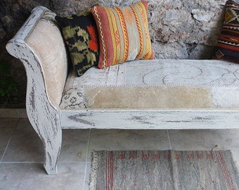 Custom shabby Chic White Bench, Upholstered with  Overdyed Vintage Rug,Wooden Furniture Asymmetry