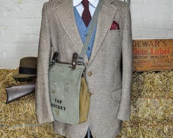 42 Regular Brown Herringbone Tweed Blazer with Full Lining